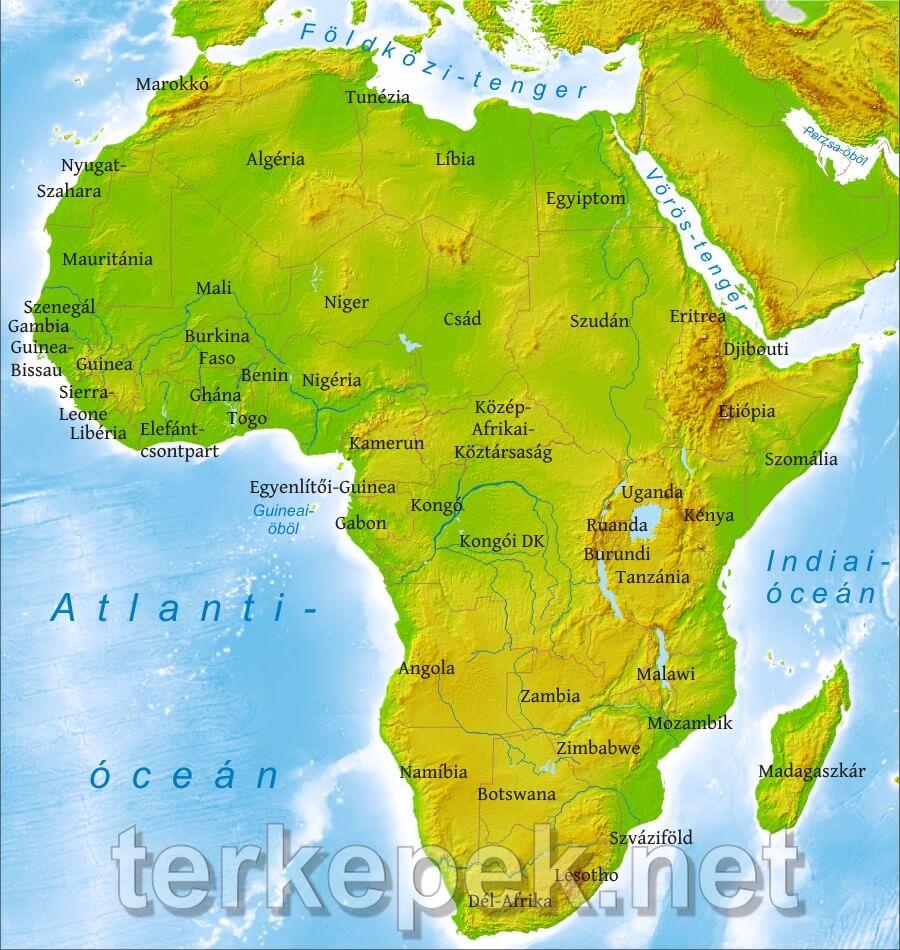afrika tájai térkép Afrika domborzati térképe afrika tájai térkép